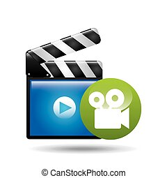 video player concept clapper and movie camera vector...
