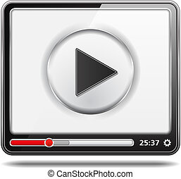 Video Player Icon - Black video player with white screen, ...