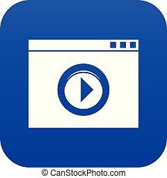 Video player icon digital blue