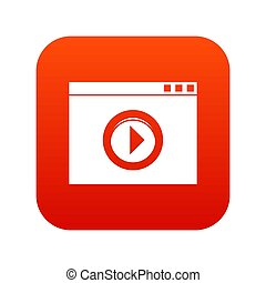 Video player icon digital red
