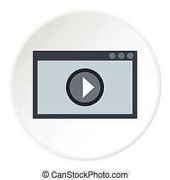 Video player icon, flat style