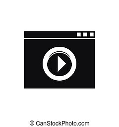 Video player icon, simple style