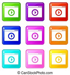 Video player icons 9 set