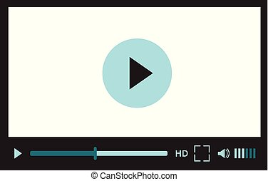 Video player interface for web site design or mobile application. Vector illustration on white