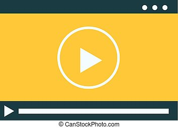 Video player isolated on white background.