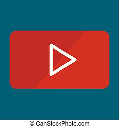 Video player play icon, flat style
