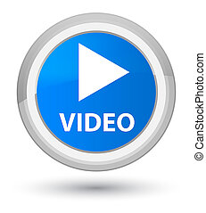 Video prime cyan blue round button