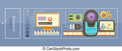 Video camera with cinema tape on background and memory card cartoon flat design. Monitor with media player and video files. Video processing concept