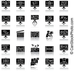 Video production drop shadow black glyph icons set