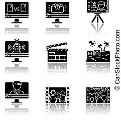 Video production drop shadow black glyph icons set