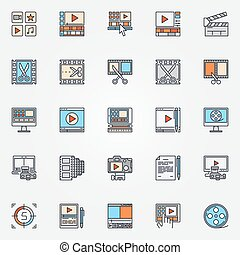 Video production icons set - vector collection of flat video...