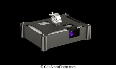 video projector in projector case