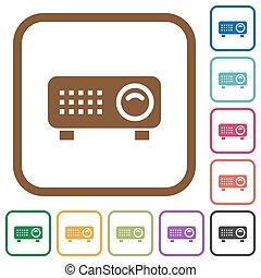 Video projector simple icons in color rounded square frames...