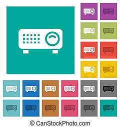 Video projector square flat multi colored icons - Video...