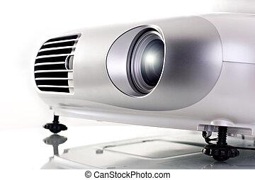 Video Projector - Video projector. High key shot on studio....