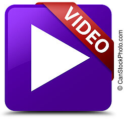 Video purple square button red ribbon in corner
