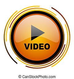 video round design orange glossy web icon