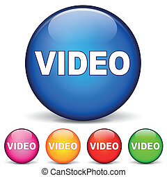 vector illustration of video rond icons on white background