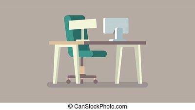 Video saver. Vacant position. Empty office desk and vacant chair. We are hiring with office empty chair. Staffing and recruiting business concept.