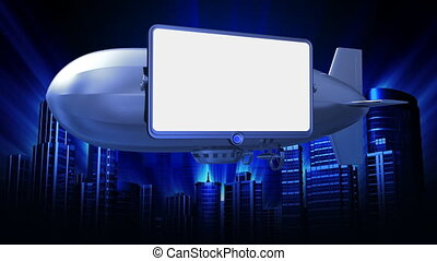 video screen on dirigible - Put your video on the white...