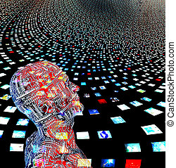 Video screens and man created entrily of my own images and...