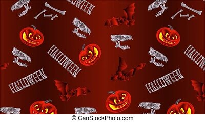 Video seamless loop animation of illustration Halloween pumpkins bats  skulls and bones holiday background vintage motion