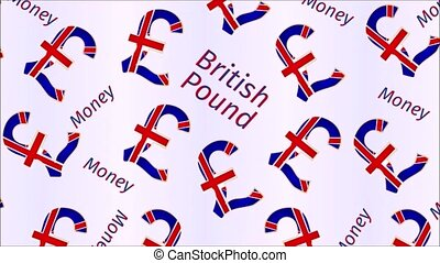Video seamless loop animation of illustration Money- The British Pound