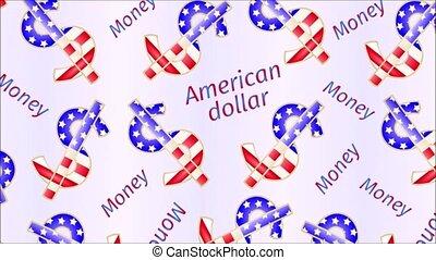 Video seamless loop animation of illustration Money-The US dollars