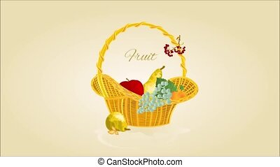 Video seamless loop fruit in a wicker basket Thanksgiving...