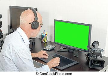 video, seine, studio, redakteur