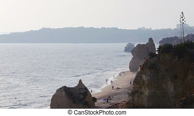 Video shooting of the Rocha beach, city of Portimao Algarve...