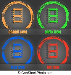 Video sign icon. frame symbol. Fashionable modern style. In the orange, green, blue, red design. Vector