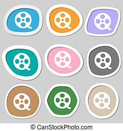 Video sign icon. frame symbol. Multicolored paper stickers. Vector