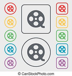 Video sign icon. frame symbol. Symbols on the Round and square buttons with frame. Vector