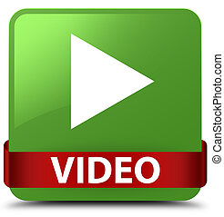 Video soft green square button red ribbon in middle