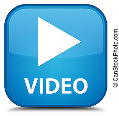 Video special cyan blue square button