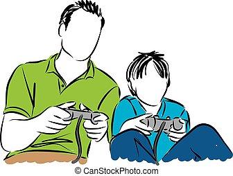 video, spelend, vader, spelen, zoon