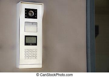 video, sprechanlage, textanzeige, bei, der, eingang, door., der, begriff, von, security.