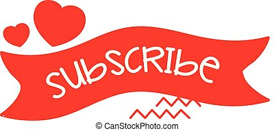 Video Subscribe Banner with Hearts Vector