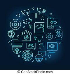 Video surveillance blue symbol. Vector CCTV illustration