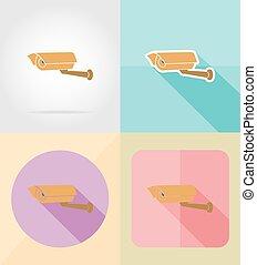 video surveillance camera for design flat icons vector illustration