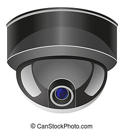 video surveillance camera illustration isolated on white...