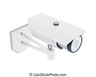 Video surveillance camera isolated. 3d rendering