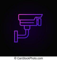 Video surveillance colored vector icon. CCTV symbol
