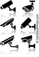 Video surveillance, new big set stickers, vector ...