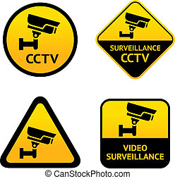 Video surveillance, set labels. Vector illustration
