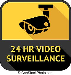 Video surveillance, set square stickers, vector illustration