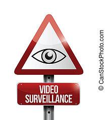 video surveillance sign illustration design