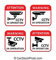 Video surveillance signs set