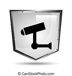 video surveillance symbol icon shield steel